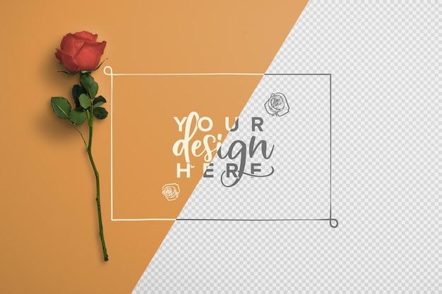 Роза на стебле фона макет