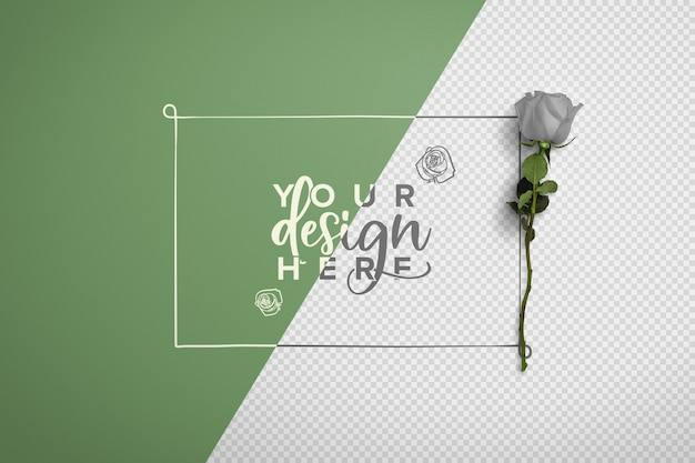 Rose on stem background mockup