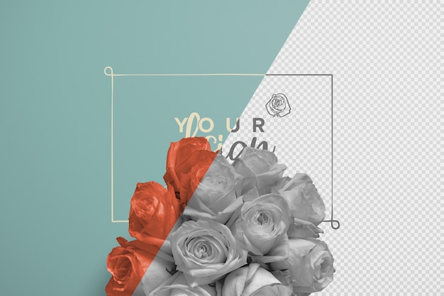 Roses bouquet background mockup