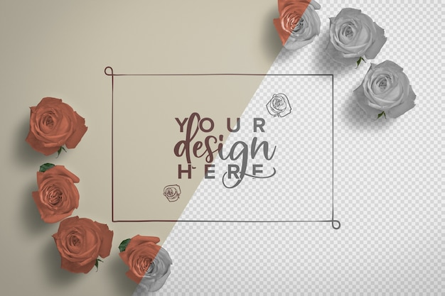 Roses frame background mockup