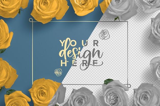Roses frame background mockup