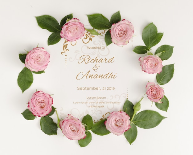 Roses and leaves save the date