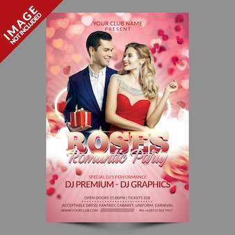 Roses romantic party flyer template