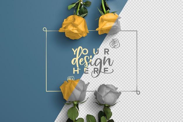 Roses on stem background mockup