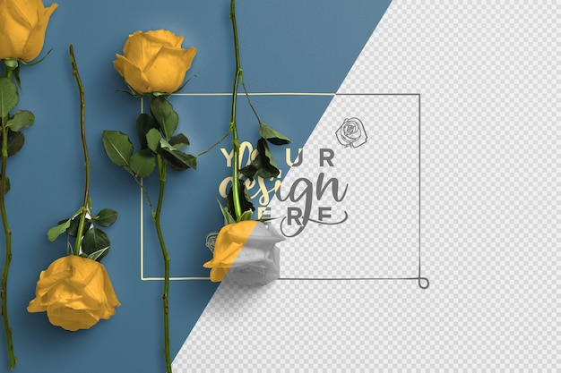 Roses on stem background  mockup