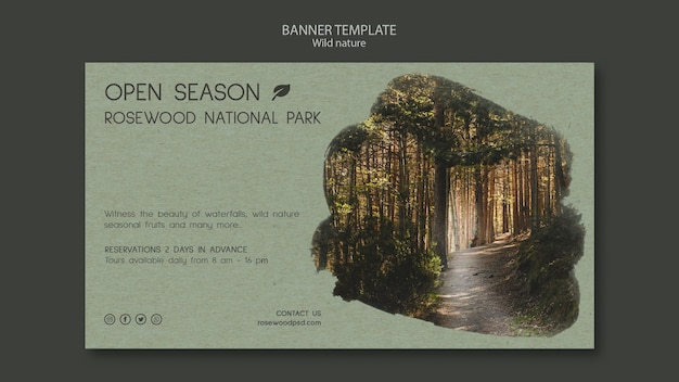 Rosewood national park banner template with forest