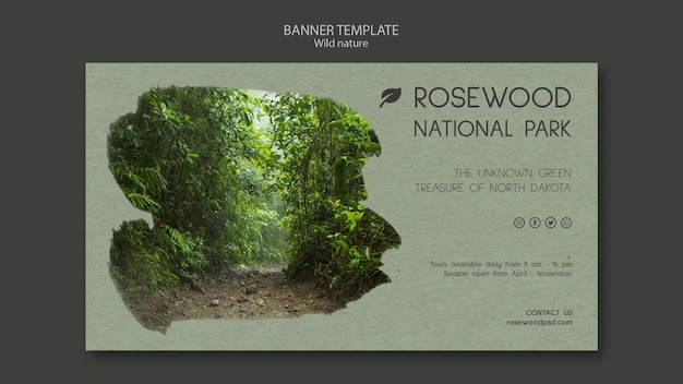 Rosewood national park banner template with trees