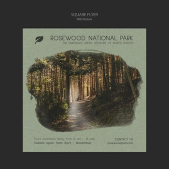 Rosewood national park flyer template with nature and trees