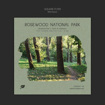 Rosewood national park flyer template with trees