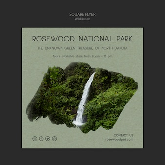 Rosewood national park flyer template with waterfall