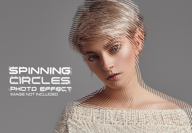 Rotating circles photo effect mockup