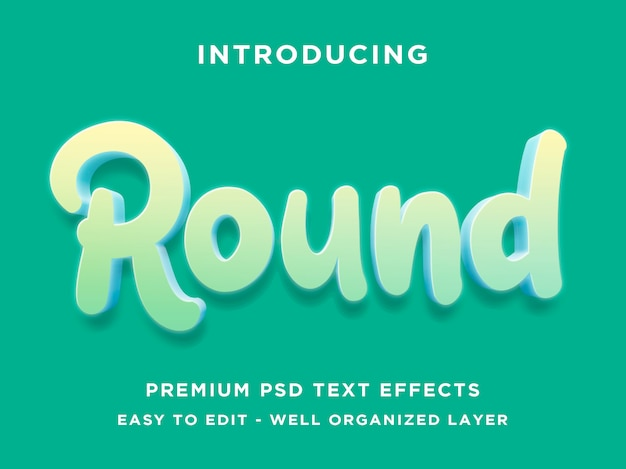 Round 3d text style effect