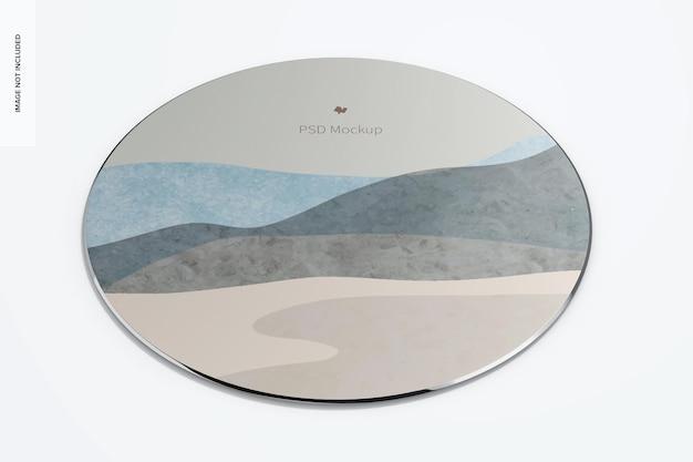 Мокап круглого алюминиевого коврика для мыши, вид спереди