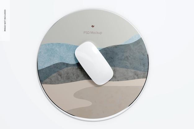 Мокап круглого алюминиевого коврика для мыши, вид сверху