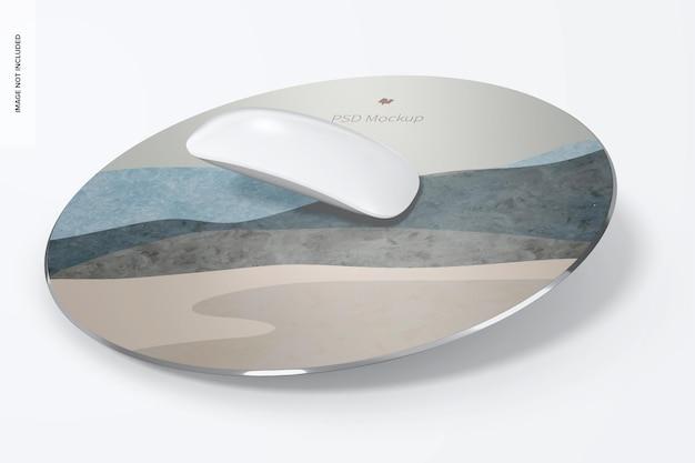 Мокап круглого алюминиевого коврика для мыши