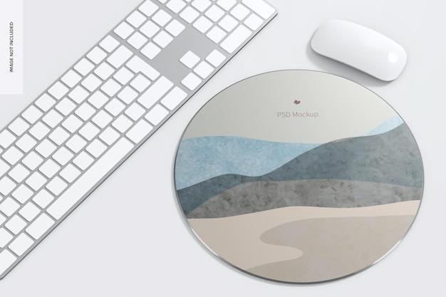 Круглый алюминиевый коврик для мыши с макетом клавиатуры