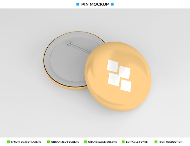 Round badge, pin or button mockup design