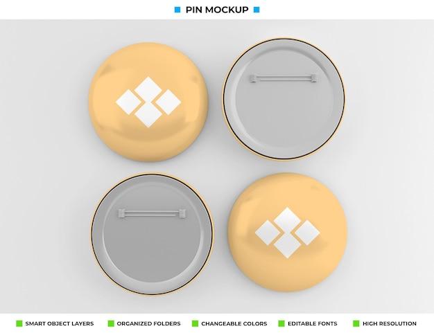 ラウンドバッジ、ピンまたはボタンのモックアップデザイン