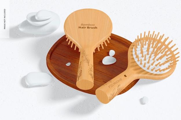 Round bamboo hair brushes mockup on surface