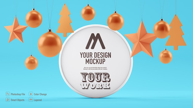 Round banner mockup for christmas with christmas decoration hanging