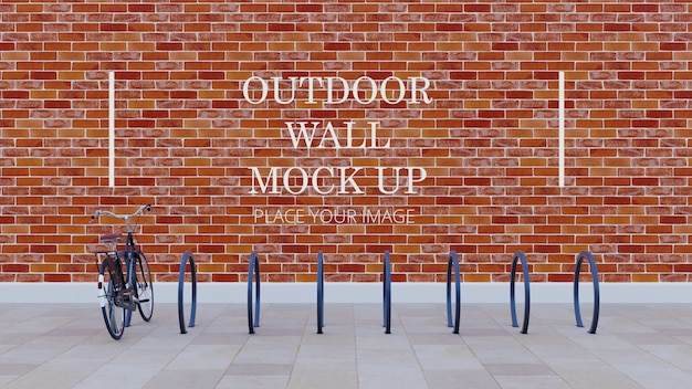 Round bicycle rack outdoor wall mock up - red brick wall