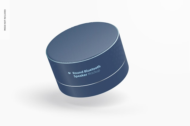 Round bluetooth speaker mockup, falling