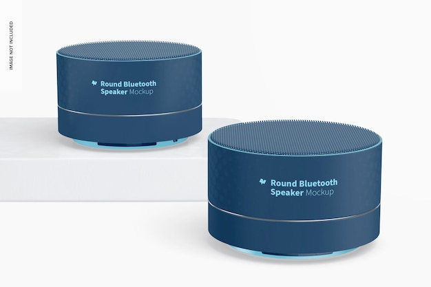 Round bluetooth speakers mockup, up and down