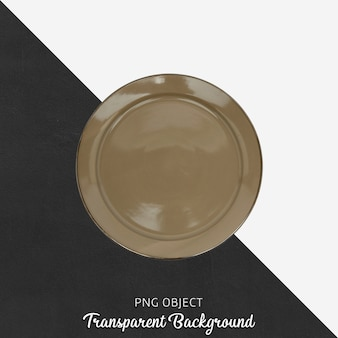 Round brown plate on transparent background