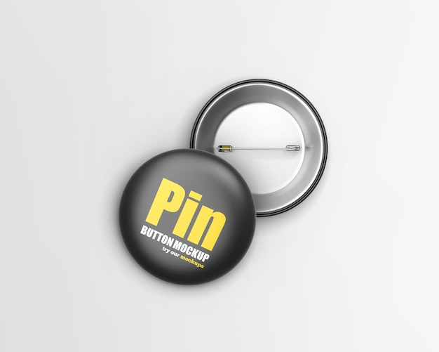 Round button badge mockup isolated
