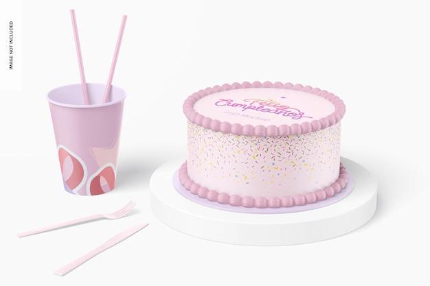 カップモックアップと丸いケーキ