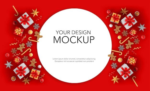 Круглая открытка с подарками и рождественскими украшениями, макет