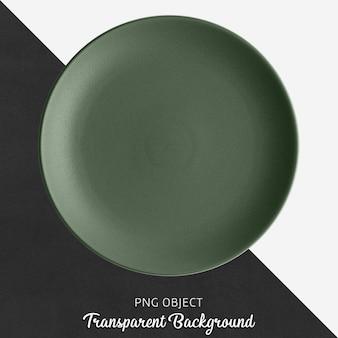 Round ceramic dark green plate on transparent background