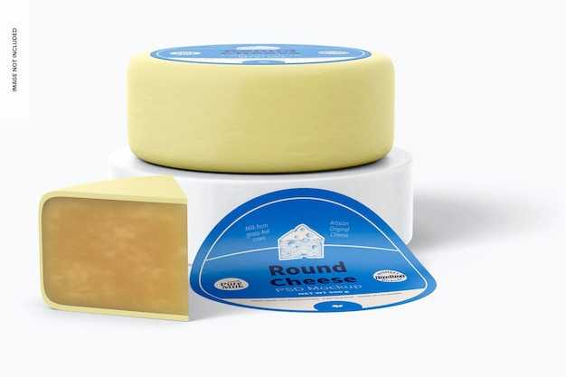Round cheese mockup, front view