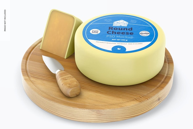 Round cheese mockup, perspective