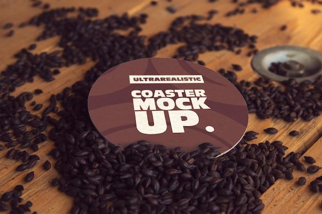 Round coaster black malt mockup