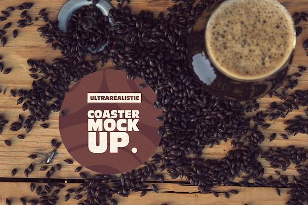 Round coaster & cup black malt mockup