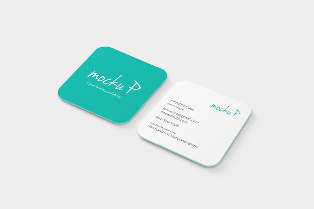 Round corner square business card mockup