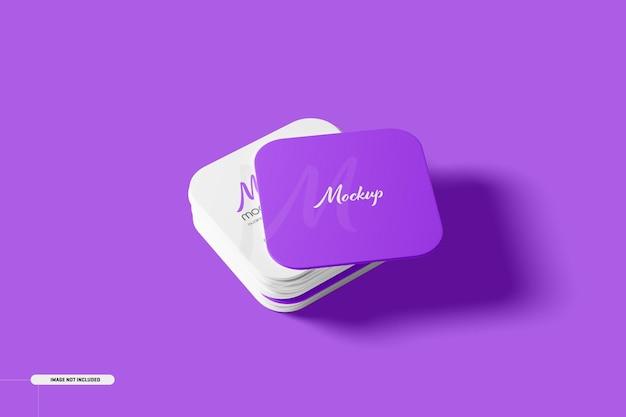 Round corner square business cards mockup