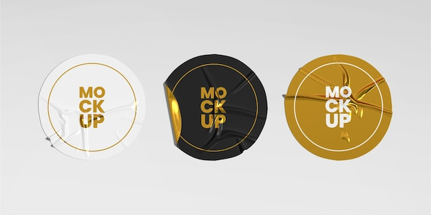 Round crumpled sticker mockup set