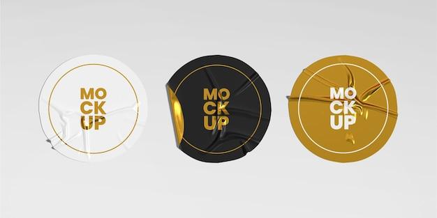 Набор макетов круглых скомканных наклеек