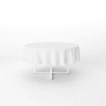 白い布で丸いダイニングテーブルモックアップ