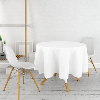 Round dining table mockup with a white cloth and modern chairs