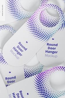 Round door hangers set mockup