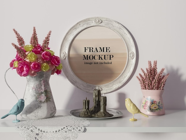 Round frame mockup beside rose and yellow flowers