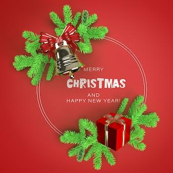 クリスマスツリーの枝とギフトボックスのモックアップとラウンドフレーム
