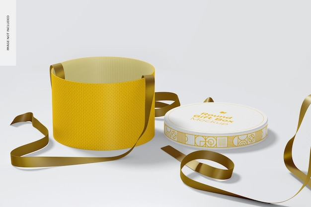 Круглая подарочная коробка с макетом ленты, вид спереди