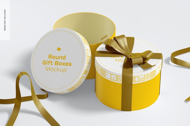 Round gift boxes with ribbon mockup, opened and closed