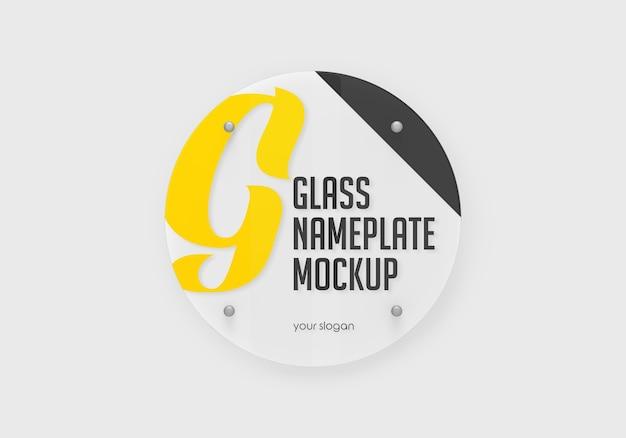 丸いガラスのネームプレートのモックアップ