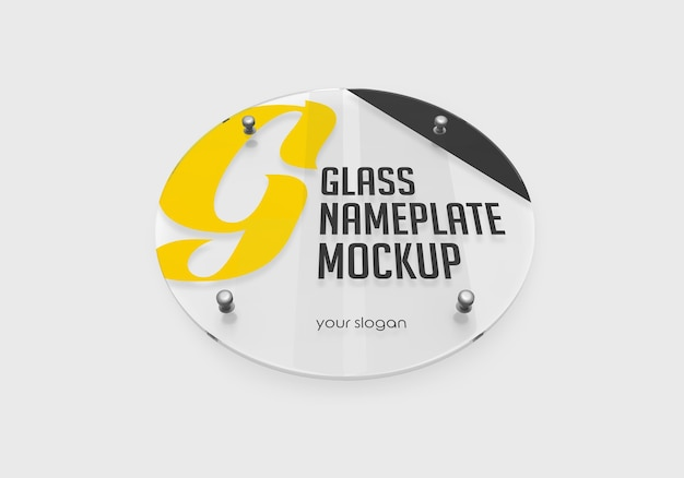 Round glass nameplate mockup