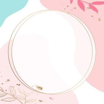 Круглая золотая рамка psd на розовом фоне образца мемфиса